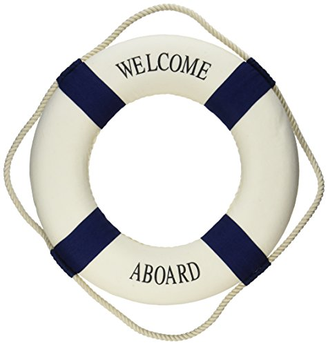 Welcome-Aboard-Cloth-Life-Ring-Navy-Accent-Nautical-Decor-135-New-Decoration-Only