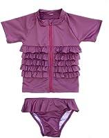 Ruffle Me Pretty - UV Sun Protective Rash Guard Swimsuit Set by SwimZip Swimwear