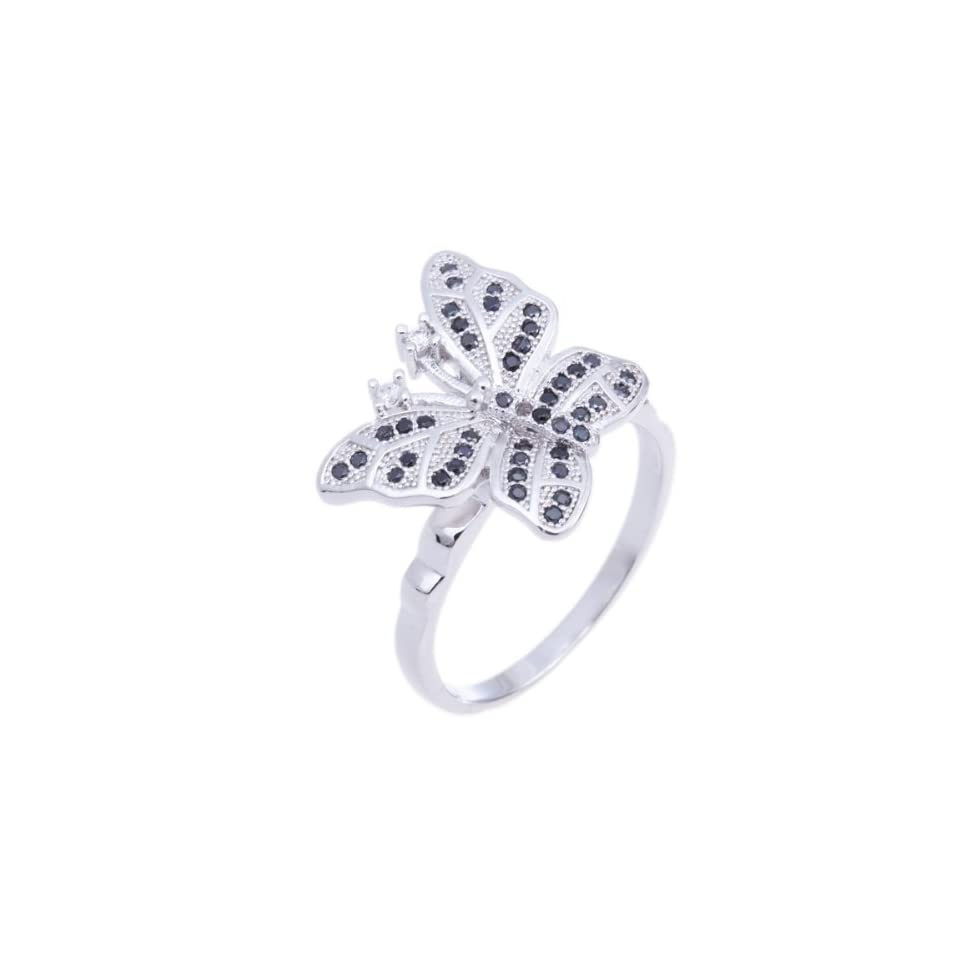 925 Sterling Silver Round Butterfly Black White Cubic Cz Zirconia Women Fashion Charm Ring