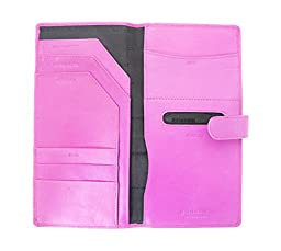 Soft Leather Travel Document Case For Passport, Tickets, Travellers Cheques, Insurance, Money etc - Pink Color.