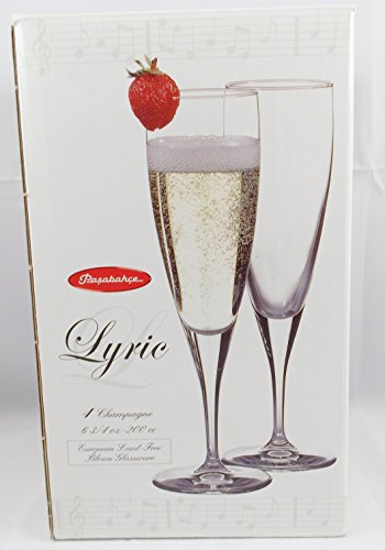 Pasabahce Lyric Champagne Flute European Lead-free Crystal Set of 4 the head of kay s