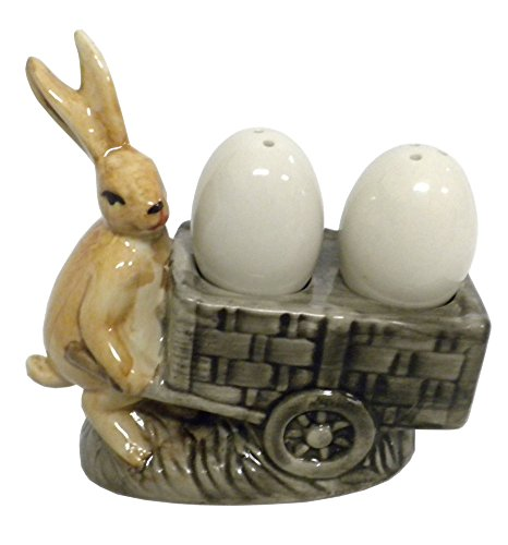 Stoneware Rabbit with Egg Salt and Pepper Shakers Vintage Kitchen Decor