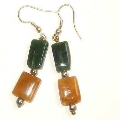 Aventurine Earrings 20 Dangle Dark Green Orange Gemstone Crystal Healing 1.8