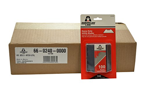 "American Line 66-0240CS 2-Notch Utility Blades, 0.025"" Carbon, Packed in Safety Dispensers (Pack of 1000)"