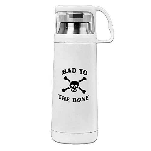 CCCFC Custom Environmental Stainless Steel Insulation Cup Bad To The Bone Skull Logo Water Bottle For Hiking Camping White 14.5oz/350ml