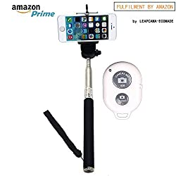 New Design Leapcama Self Portrait Self Shot Monopod Selfie Stick With Phone Holder For Samsung iPhone Blackberry With Bluetooth Remote Camera Wireless Shutter (blackMonopod+WhiteRemote)