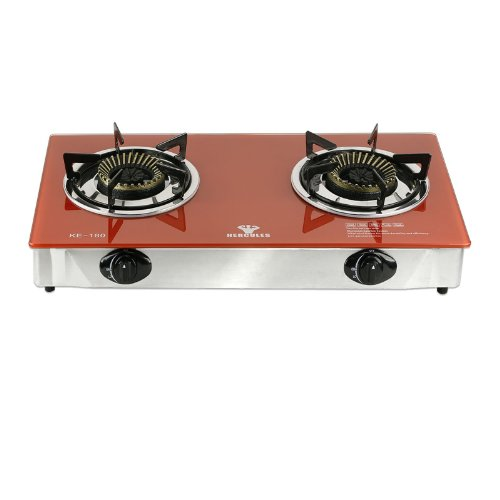 Hercules Super Heavy-Duty 2-Burner Portable Gas Stove Cooktop - Tempered Glass Top - Electronic Ignition