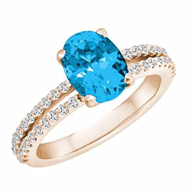 Ryan Jonathan Split Shank Blue Topaz and Diamond Ring in 14K White Gold