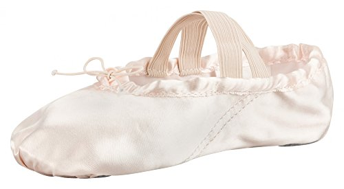 tanzmuster Ballettschuhe / Ballettschläppchen aus Satin, geteilte Ledersohle, rosa und champagner