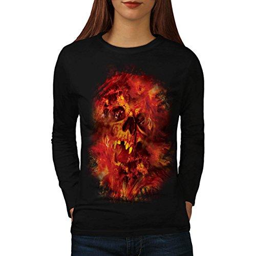 Cranio Bestia Flames Inferno Anima Da donna Nuovo Nero XL T-Shirt Manica Lunga | Wellcoda