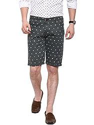 Showoff Men's Grey Melange Slim Fit Printed Casual Chino Shorts