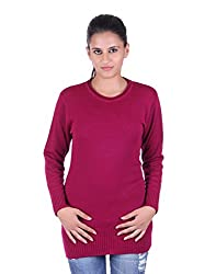 eWools Women's Woolen Sweater (Miss18-423_Maroon_Large)