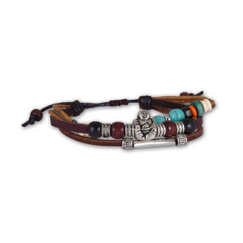 Fashion Plaza Unisex leather Bracelet Happy Buddha Charm Multicolored Wood Beads Turquoise Triple Strands L125