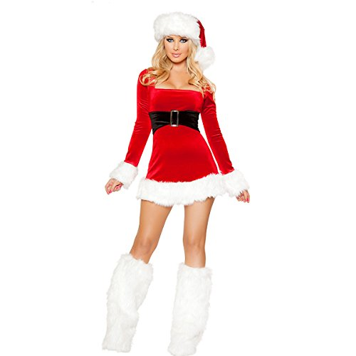 Quesera Women's Christmas Costumes Holiday Santa Lingerie Outfits Jingle Dress