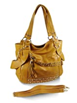 New York Style Stud Accent Hobo Handbag - Choice of Colors (Yellow)