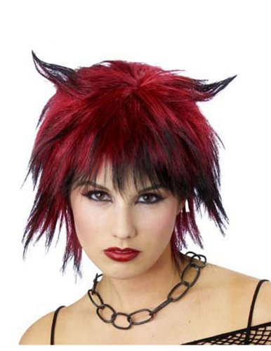 Costume-Wig Devilish Shag Wig Black/Red Halloween Costume - 1 size