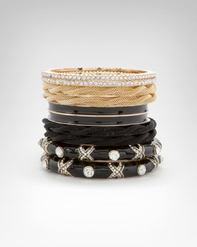 Bebe Crystal Mesh Enamel Bangle Set Multi onesize