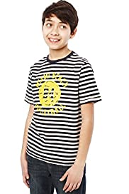 Pure Cotton Striped Volleyball T-Shirt with Stay New™