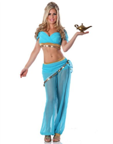 Womens Blue Belly Dancer Arabian Nights Jasmine Costume Medium Large (6-10) image