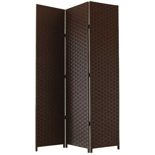 JVL Screen Folding Free Standing Decorative with Black Hinges Woven Paper, Brown