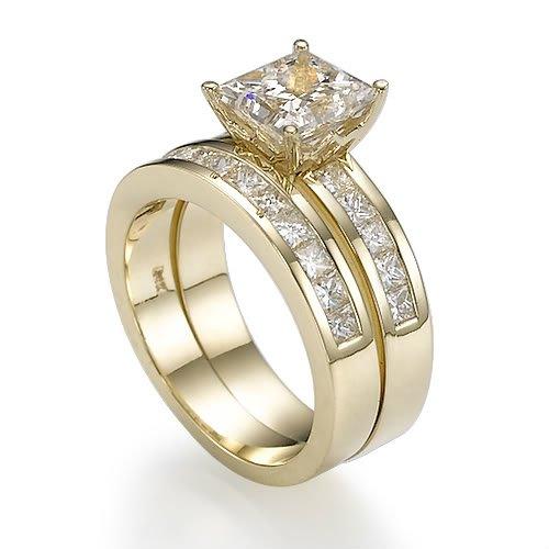 Holyland-3.3 CT VS PRINCESS DIAMOND PROMISE RING SET 18K Y GOLD