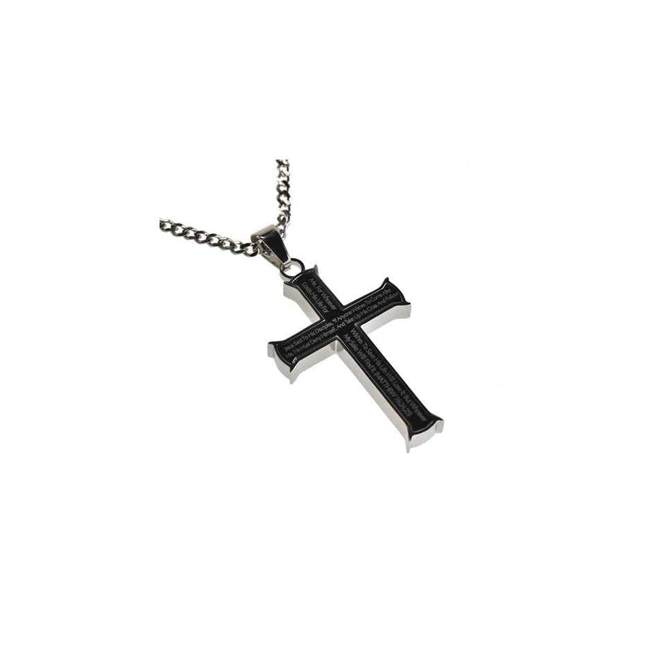 """Christian Mens Stainless Steel Abstinence """"Jesus Said to His Disciples, 'If Anyone Wishes to Come After Me, He Must Deny Himself, and Take up His Cross and Follow Me. For Whoever Wishes to Save His Life Will Lose It; but Whoever Loses His Life for"""