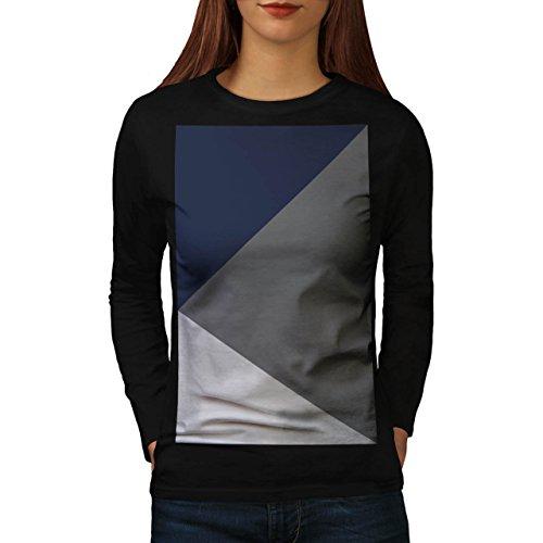 Grigio Triangolo Forma Tre fila Da donna Nuovo Nero M T-Shirt Manica Lunga | Wellcoda