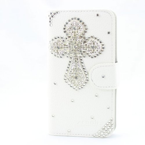 piaopiao fashion 3d bling leather wallet card flip Case Cover Skin For Samsung Galaxy S Blaze 4G T769 cross silver