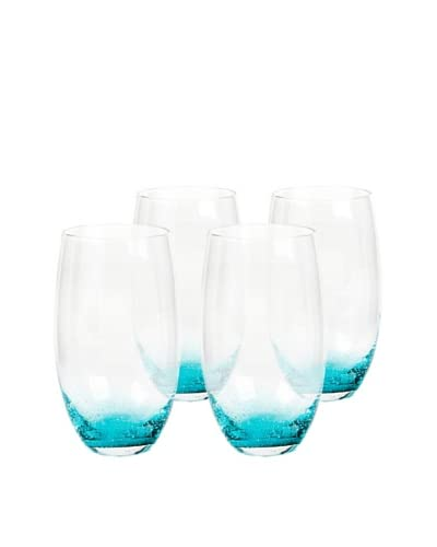 Impulse! Set of 4 Nassau Highball Glasses, Clear/Aqua