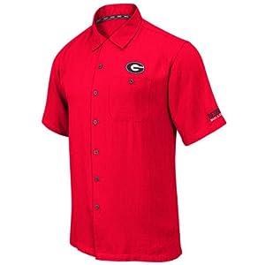 Georgia Bulldogs Mens Red Bermuda Camp Shirt by Chiliwear LLC