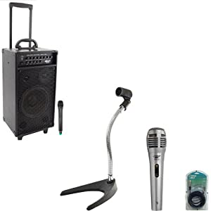 Pyle Speaker, Mic, Cable and Stand Package - PWMA1080I 800 Watt VHF Wireless Portable PA System/Echo / MP3 w/iPod Dock - PDMIK1 Professional Moving Coil Dynamic Handheld Microphone - PMKS8 U-Base Gooseneck Desktop Microphone Stand - PPFMXLR15 15ft. XLR Male to XLR Female Microphone Cable