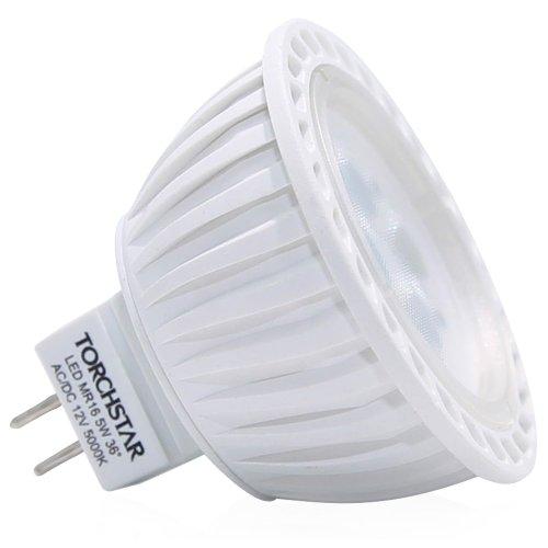 Torchstar Ac/Dc 12V 5W Mr16 Led Bulb - 5000K Daylight Led Spotlight - 340 Lumen 36 Degree Beam Angle Gu5.3 Base For Home, Recessed, Accent, Track Lighting
