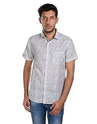 Oxemberg Men's Printed Casual 100% Cotton Grey Shirt