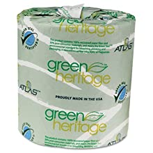 "Green Heritage 235 4.5"" Length x 3.5"" Width, 2-Ply Bathroom Tissue (Case of 96 Rolls, 500 per Roll)"