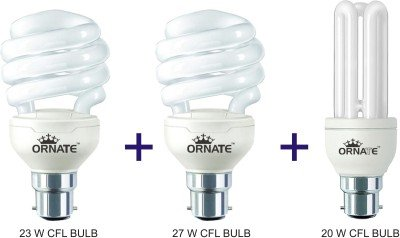 Ornate 20W, 23W And 27W B22 CFL Bulb Combo (White) Image