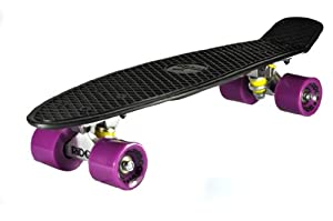 Ridge Skateboard 69 cm 27 Inch Nickel Cruiser Retro Stil M Rollen Komplett Fertig Montiert, Pb-27-Black-Purple