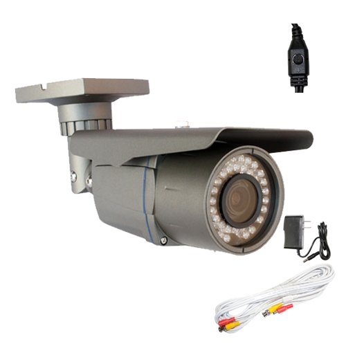 """Professional 1/3"""" Exview Had Ccd Ii With Effio-E Dsp Devices 700Tvl Cctv Surveillance Video Outdoor Ir Security Camera With 25Ft Bnc Cable & Power Adapter Kit - 700 Tv Lines, 2.8~12Mm Varifocal Lens, 42Pcs Ir Led, 115Ft Ir Distance, Wdr, Osd Menu"""