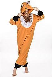 VU ROUL Adult Kigurumi Onesies Cosplay Fox Costume Sleepwear Black