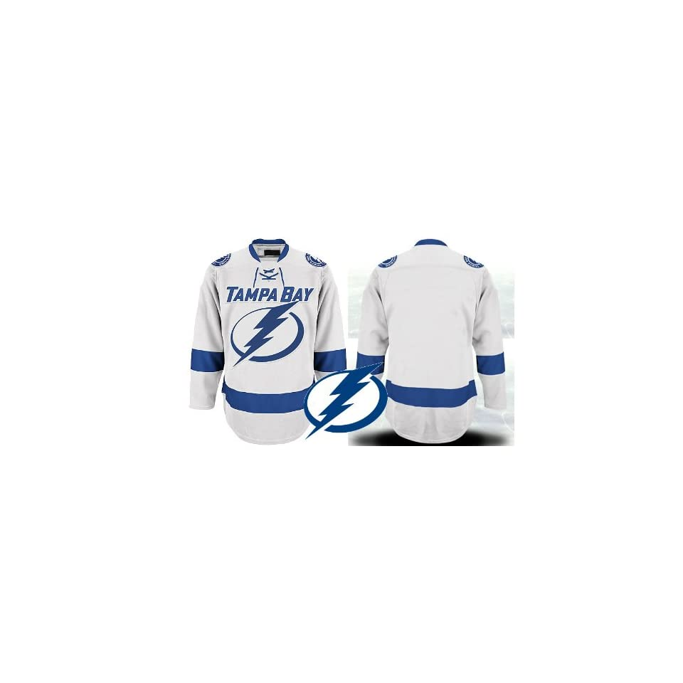 4713c02a5 EDGE Tampa Bay Lightning Authentic NHL Jerseys Blank AWAY White Hockey  Jersey (ALL are Sewn On)