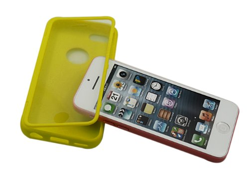 Bear Motion (TM) Premium Full Housing Case for iPhone 5C with Front and Back Protection and Built in Screen Protector for Apple iPhone 5C (Yellow) (Full Housing Iphone 5c Case compare prices)