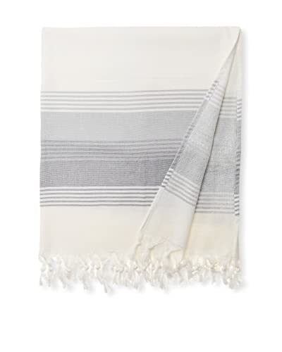 Nine Space Milazzo Stripe Fouta Terry Towel, Grey