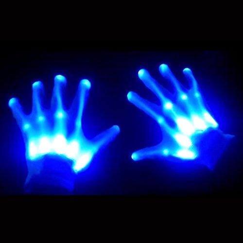 GlowCity Light Up LED Skeleton Hand Gloves (Youth Size)