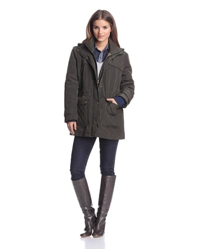 London Fog Women's Hooded Anorak  [Olive]