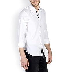 Tuscans Men White Slim Fit Casual Shirt_QSS3_WHITE_L