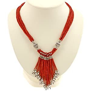 EXP Handmade Red Serpentine & White Pearl Necklace With Antiqued Accent Beads