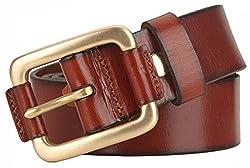 Blueblue Sky Retro Pin Buckle Belts Men's Genuine Leather Belts#tr2031 (43 in, Brown)