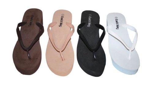 Women'S Fashion Comfort Wedge Platform Flip Flops Thong Ladies Sandal Shoes_White_10