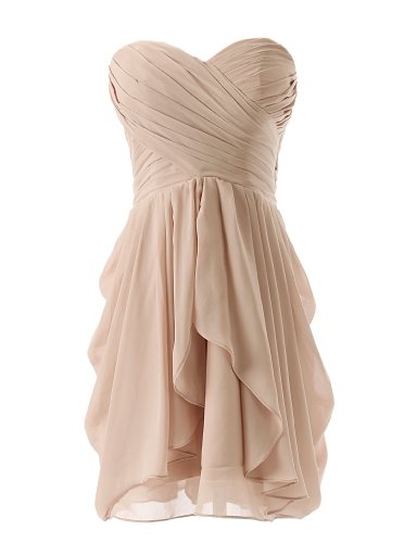 Dressystar Short Strapless chiffon party dress evening dress Champagne 2