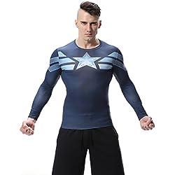 Cody Lundin® Hombres Impresión 3D Digital Película Tema héroe Ejercicio Fitness y compresión Camisa Manga larga Deportes camiseta (M, El Capitán América)