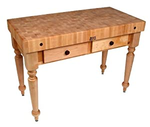 Butcher Block Kitchen Table With Storage : Amazon.com - American Heritage Rustica Butcher Block Table Shelves: Not Inluded, Finish: Caviar ...